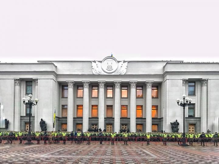 Государственный квартал вКиеве заблокировали перед митингом Саакашвили
