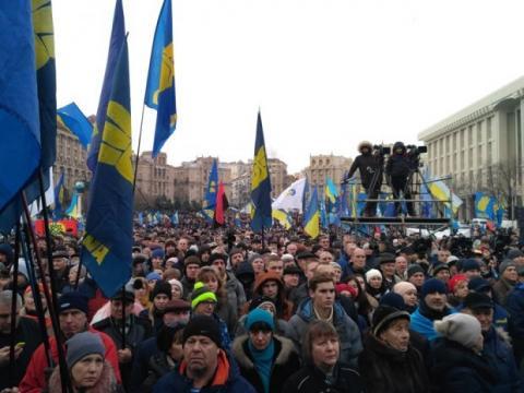 """На Майдане проходит вече """"Красные линии"""" перед нормандским саммитом: фото, видео"""